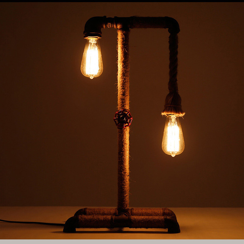 American water pipe desk lamps industrial loft table light bar restaurant cafe study office vintage decoration lights rope lamp industrial vintage table lamp simple water pipes desk light cafe bar small table light contain led bulbs mesa loft art lighting