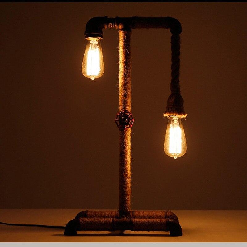 ФОТО American water pipe desk lamps industrial loft table light bar restaurant cafe vintage decoration lights
