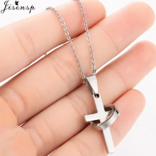 Jisensp Punk Cross Long Silver Chains Necklaces for Women Men 2019 Fashion Christian Stainless Steel Link Chain Necklace Jewelry(China)