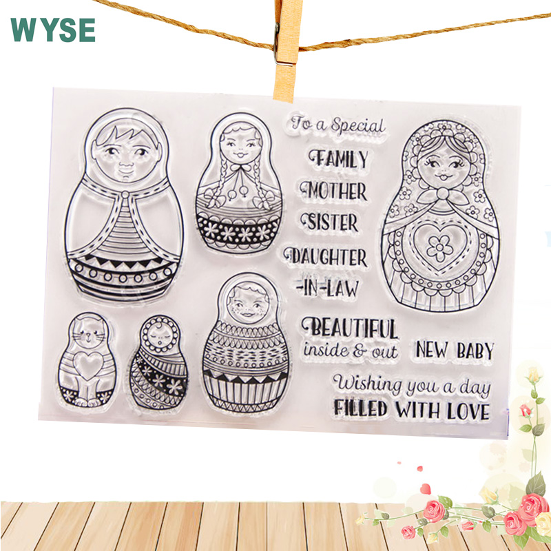 Matryoshka Clear stamps rubber Transparent Clear stamp Seal for DIY Scrapbooking card making Photo Album decoration 11*16 aspirations of girl diy transparent clear rubber stamp seal paper craft photo album diary scrapbooking paper card rm 244
