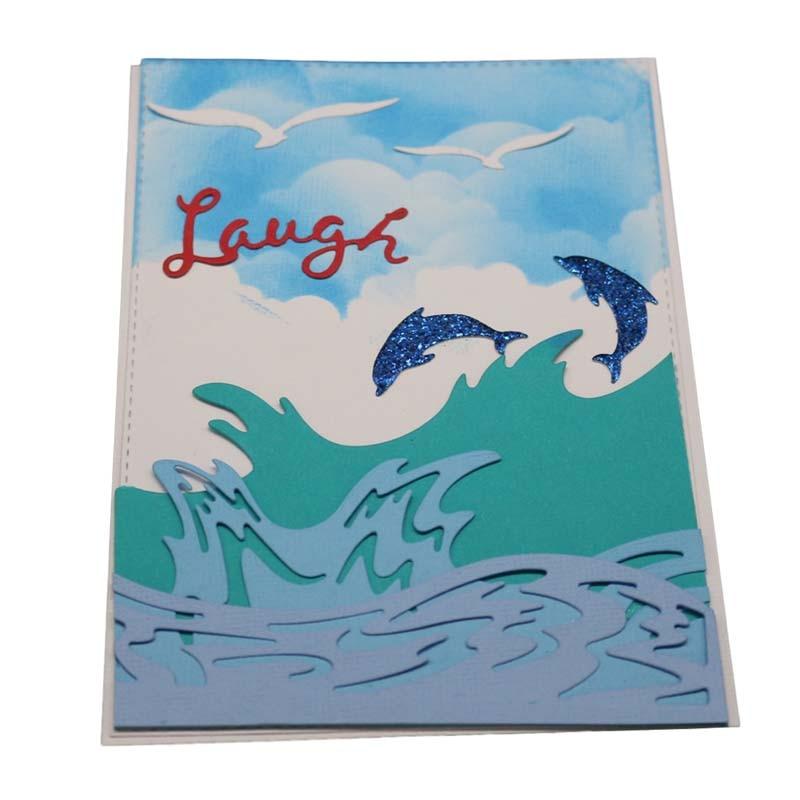Sea Wave Frame Background Metal Cutting Dies Stencil Scrapbooking Card Embossing