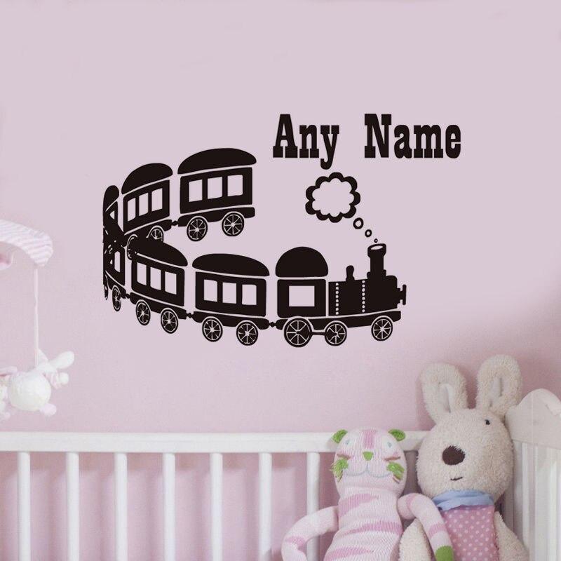 dctop cualquier nombre kids vinilos decorativos de largo alcance tren de la historieta de pared de
