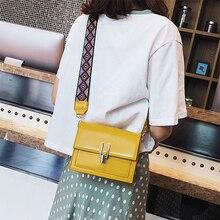 Casual Solid Pu Leather Crossbody Bags For Women Print Width Belt Messenger Bags Women Handbags Mini Small Flap Bag Girls Bolsas pinapple print flap crossbody bag