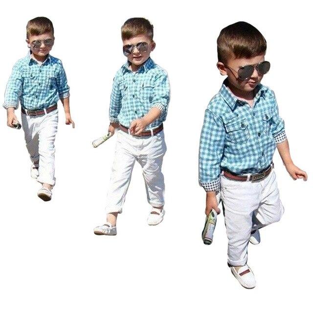 0db1e6f64 ZOETOPKID Brand Boys Clothing Set Long Sleeve Plaid Shirt + White Pants + Belt  3pcs Set For 18M-7 Years Baby Boys Clothing Set