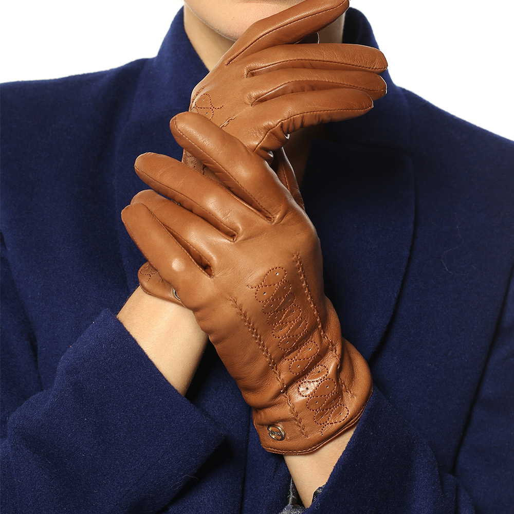Genuine Leather Gloves Female Winter Keep Warm Fashion Driving Sheepskin Woman Gloves Wool Cashmere Knitted Lined EL001NR