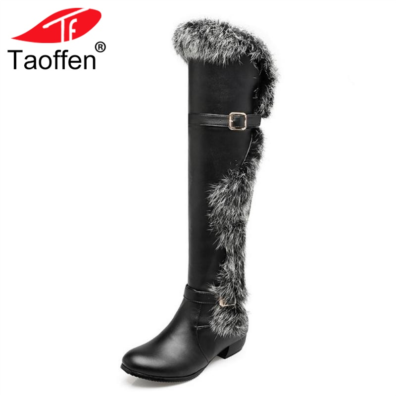 TAOFFEN Women Round Toe Flat Over Knee High Boots Woman Fashion Fur Botas Feminine Ladies Shoes Footwear Size 34-44 russian women winter warm fur ankle boots woman fashion rivets buckle style shoes feminine round toe flat snow botas size 34 39