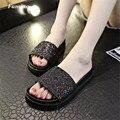 Mulheres Chinelos de bling verão flip flops preto Personalidade 2017 moda Não-deslizamento de slides pu sapato feminino estrela Personalidade