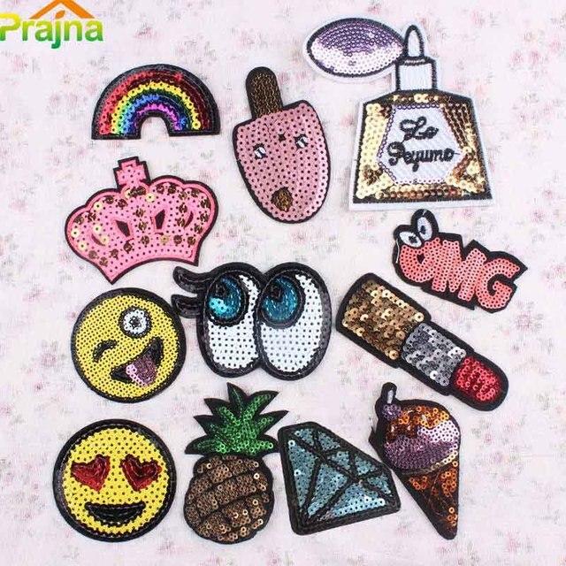 12pcs Emoji Fruit Rainbow Patch Set Cartoon Sequin Patches Iron On