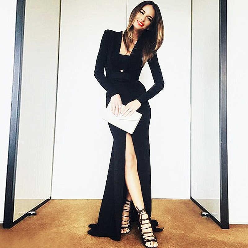 Bqueen 2019 новый черный сексуальное нижнее белье с глубоким v-образным вырезом с длинным рукавом Длинные платья с разрезом осень пол-Длина