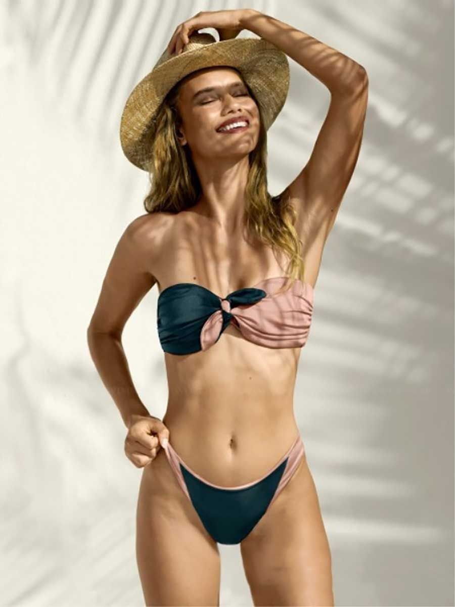 Solid Bandeau Bikini Set 2019 Sexy Swimsuit Women Bikini Brazilian Thong Swimwear Female Halter top Bathing Suit Swimming Wear