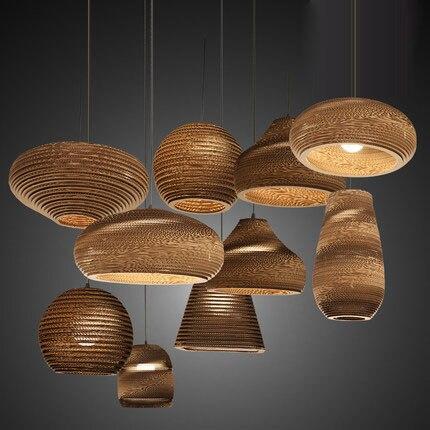 Creative Vintage loft Rural papier nid d'abeille pendentif lumières abat jour papier lanternes pour Bar café décoration lampe 110 240V