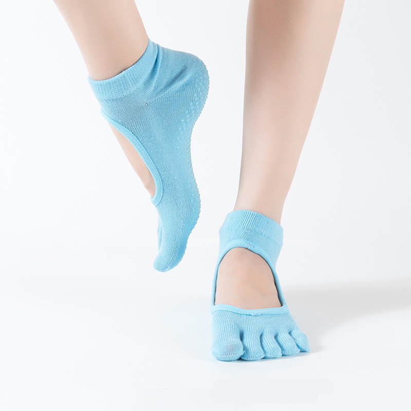 1 Pair New Anti-Slip Yoga Sport Socks Ankle Grip Durable Colorful Five Fingers Cotton Full Toe for women 8 Colors A