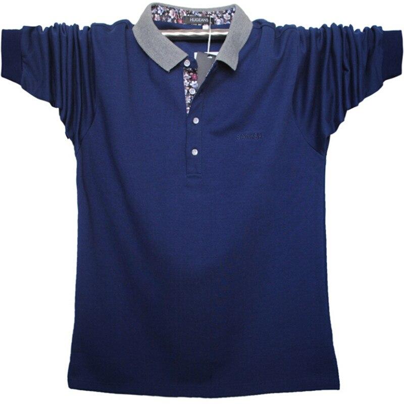 Large Size 5Xl Men Polo Shirts Long Sleeve Cotton Shirts Men Autumn Spring Solid Men Clothing Polo Shirts A3089