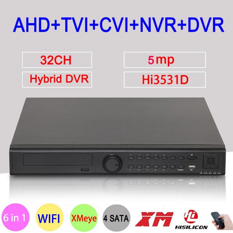 5MP CCTV Camera Hi3531D 32CH 32 Channel 4*SATA 6 in 1 H.265+ Hybrid NVR CVI TVI AHD DVR Surveillance Video Recorder FreeShipping