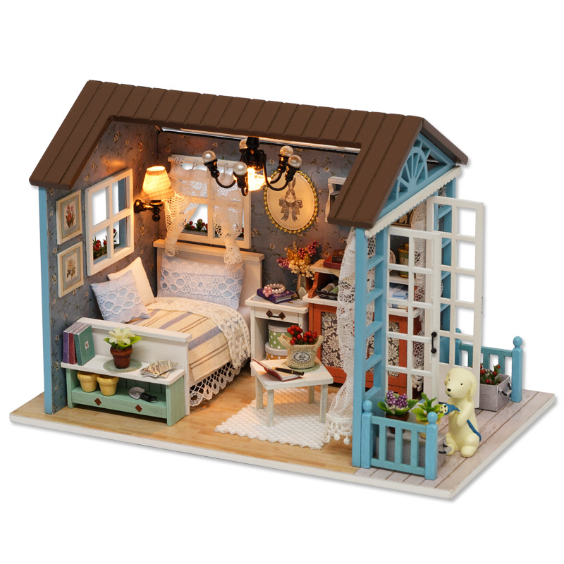 LED Light Miniature Furniture Doll House Dollhouse DIY Kit Wooden House Puzzles Model Toy for Kids Birthday Christmas Gifts (6)