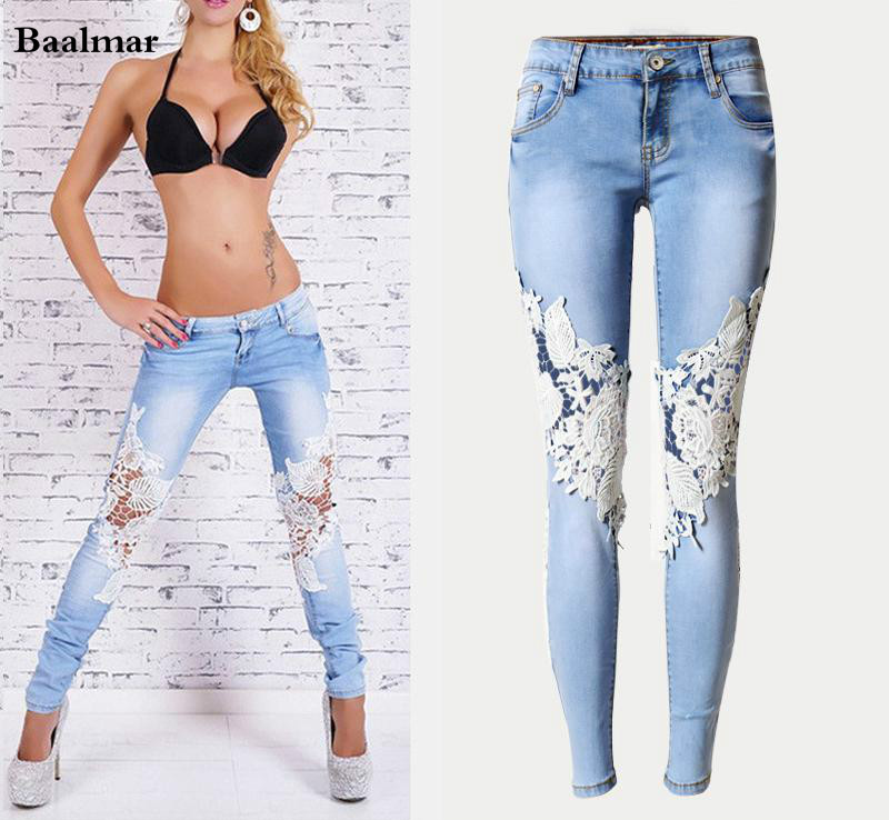 Baalmar Fashion Women Lace Spliced Jeans Sexy Hollow Out Washed White Denim Pants Female Low Waist