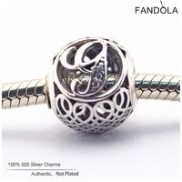 Fandola Diy Alphabet Charms 925 Sterling Silver Vintage G Letter Beads for Jewelry Making Fits Women Bracelets Jewellery