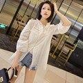 Летом Белый Верх Женщина Выдалбливают Вышивка Кружева Повседневная Рубашка