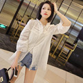 Summer White Top Woman Hollow Out Embroidery Lace Casual Shirt