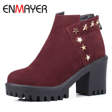 ENMAYER Spring&Autumn Boots Shoes Woman High Heels Round Toe Rivets Charms Plus Size 34-43 Platform Women