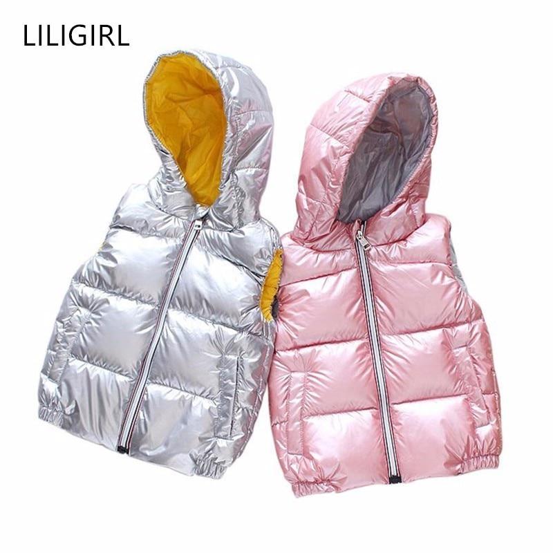 LILIGIRL Bebê Crianças Encabeça Roupas 2019 Meninas e Meninos de Inverno Quente Com Capuz de Down-Jaqueta Colete para Crianças Colete de Algodão outerwear