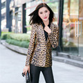 YONO Nova Moda Mulheres Blazers Slim Fit Curto Ternos Leopardo Plus Size Blaser Chaquetas Mujer Outono Outwear Jaqueta Feminina