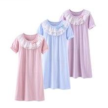 Купить с кэшбэком Girl pajamas Summer 100% Cotton Baby Girls Dresses Sleep Dress Children Clothing Kids Clothes soft comfortable robes