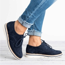 Woman Lace-up Carving Bullock Pointed Toe Slip On Creepers Preppy Leather Derby