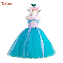 Girls Mermaid Fancy Dress Up Kids Cosplay Princess Costume Christmas Party Long Gown With Headband Blue 2-8T