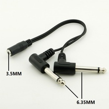 3.5MM Stereo Female to Dual 6.35MM Right Angle Jack Mono Male Audio Cable Adapter Length 20cm Black