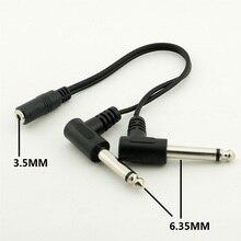Conector de ángulo recto hembra a doble conector macho, 3,5 MM, 6,35 MM, longitud del adaptador del Cable de Audio, 20cm, negro