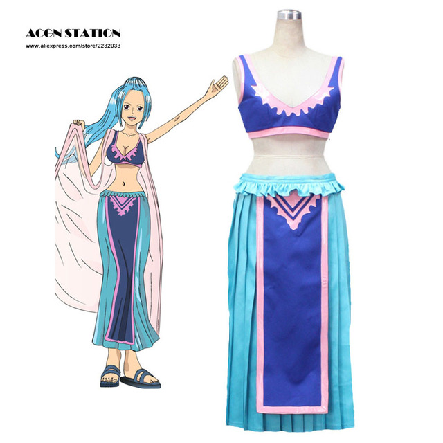 2018 Free Shipping Blue Purple One Piece Vivi Princess of the Alabasta  Kingdom Nefeltari Cosplay Costume