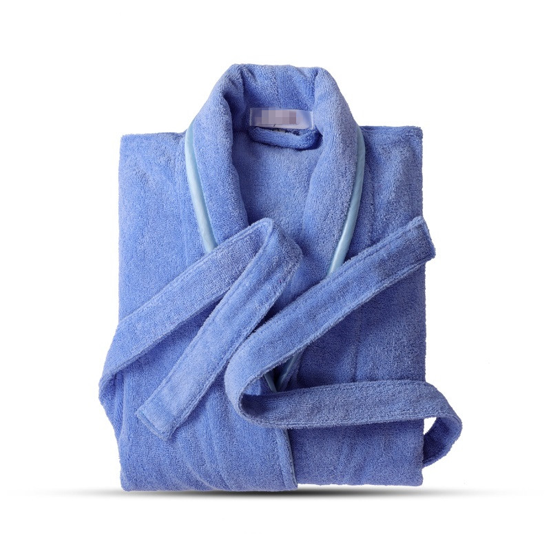 Terry Robe Pure Cotton Bathrobe Lovers Blue Robes Men Bathrobe Women Solid Towel Long Robe Sleepwear Plus Size XXL(China)
