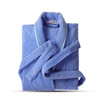Terry Robe Pure Cotton Bathrobe Lovers Blue Robes Men Bathrobe Women Solid Towel Long Robe Sleepwear Plus Size XXL