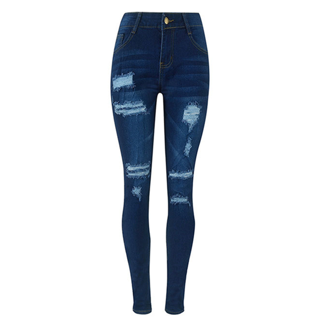 2017 Europa Novo Calças Moda Slim calças de Ganga para Mulheres Rasgado Buraco Calça Jeans de Cintura alta Femininos Calças Lápis Azul Escuro Tamanho Grande 2XL