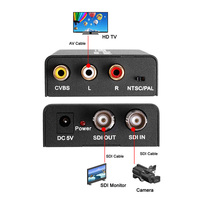 New Computer Accessories HD 3G SDI To Composite RCA Video L R Analog Stereo Audio Converter