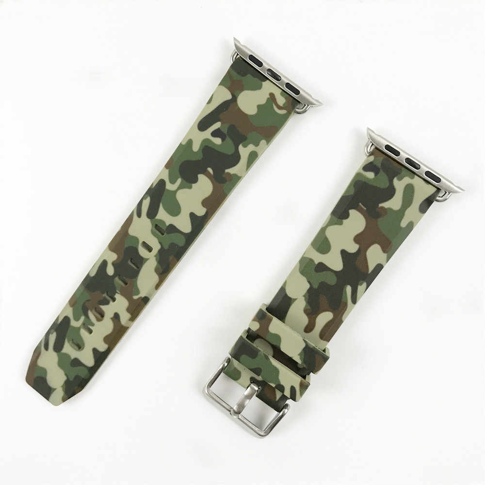 Camouflage Silicone Strap for Apple Watch Band 44mm 40mm 38mm 42mm Bracelet for iWatch 4 3 2 1 Accessories New Sport Wrist Belt