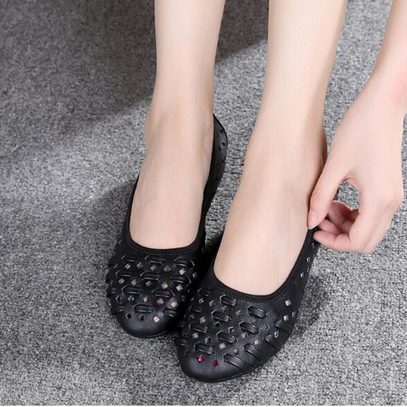 Genuine Leather 2019 Round Toe Women Flat Shoes Beige Black Gray Blue Leisure Lady Casual Shoes Hollow Women 39 s Loafers in Women 39 s Flats from Shoes