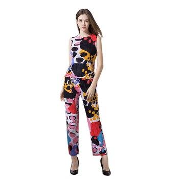 FREE SHIPPING Miyake Fold print sleeveless top two-piece women fashion fold wide-legged pants suit IN STOCK
