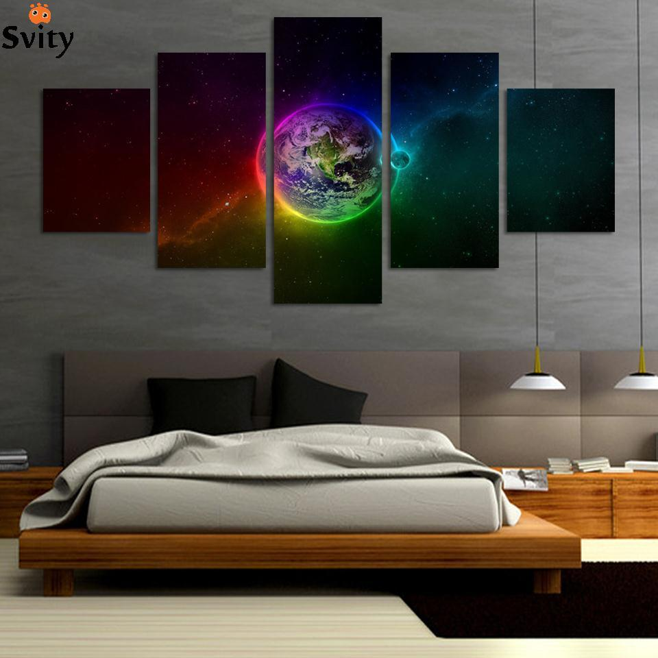 Unframed printed planets outer space 5 piece painting wall for Outer space home decor