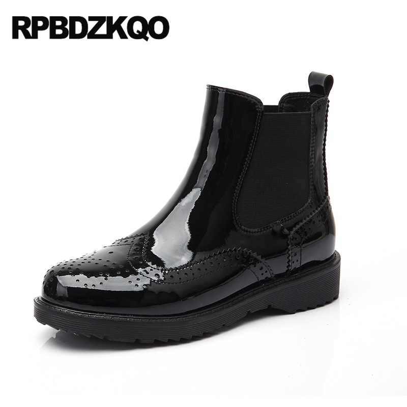Chelsea Patent Leather Slip On Fall Shoes Flat Women Ankle Boots 2016 Round Toe Brogue Cut Out Ladies Elegant Black Booties fall flat black waterproof 2017 women shoes retro front lace up casual ankle boots autumn patent leather chunky booties vintage