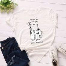 GUMPRUN Women Streetwear Casual T Shirt Summer Cute Dog Letter Print Tshirt Womens Loose Cotton Short Sleeve Plus Size