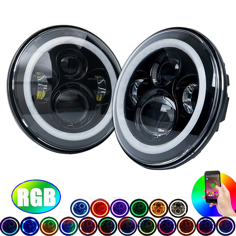 7'' LED Headlights Bulb RGB Halo Angel eyes with Bluetooth Remote for Jeep Wrangler JK CJ 7 inch RGB Angel Eyes LED Headlight. 4 90mm rgb led lights wholesale price led halo rings 12v 10000k angel eyes rgb led angel eyes for byd for chery for golf4