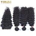 7 StarsHair малайзии девы волос с закрытием 6а необработанные человеческие волосы соткать 3 связки малайзии глубокая волна с кружевом закрытие