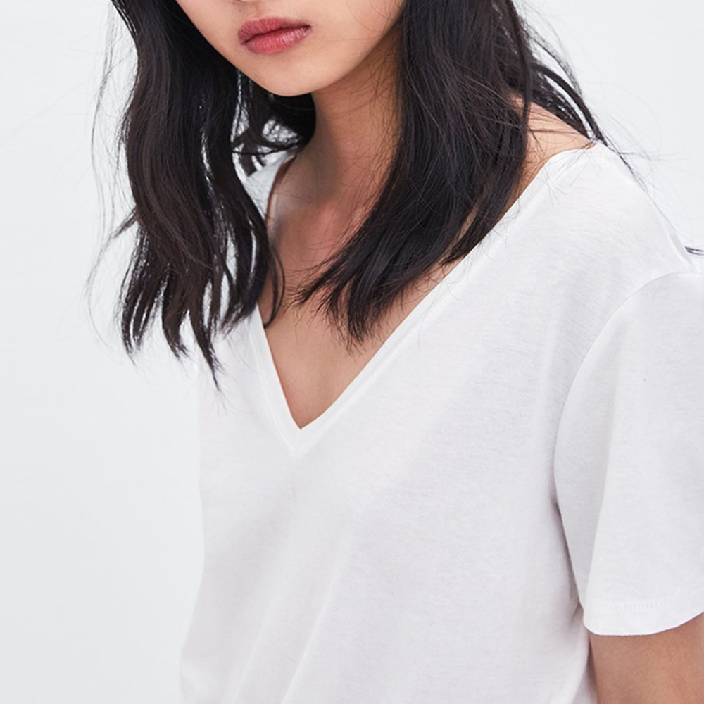 HDY Haoduoyi Femme Summer Simple Befree Sheer White Comfortable V neck T shirt Top Tees Harajuku Bodycon in T Shirts from Women 39 s Clothing