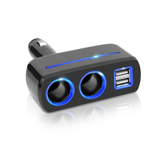 2017 New Dual USB Charger Socket 2 Way Auto Car Cigarette Lighter Socket Splitter 2 USB Charger Power Adapter