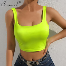 Simenual Square collar strap tank top neon green sexy sleeveless crop tops women streetwear korean vest summer fashion slim tee(China)