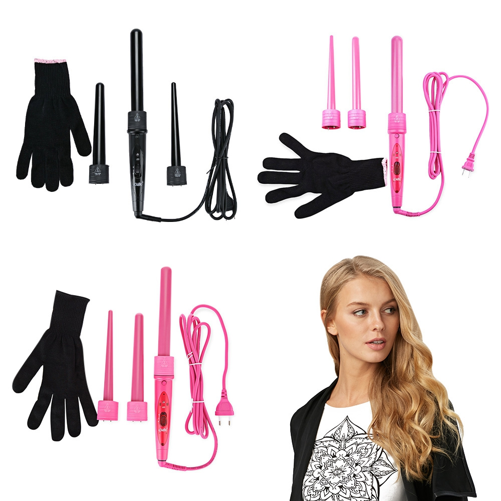 DODO 3 Parts Clip Iron Hair Curler Set Hair Curling Kits Hair Care Styling Tools Wand Interchangeable Tourmaline Ceramic ckeyin professional hair waver wave curler ceramic hair curling iron 3 barrel roller curler curling wand hair styling tools hs46