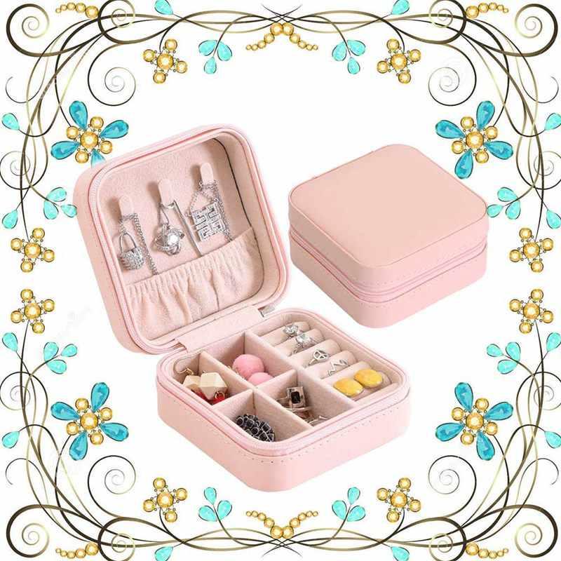 2018 Display Organizer Necklaces Zipper Case Women Storage Earring Ring PU Portable Bracelet Jewelry Storage Box
