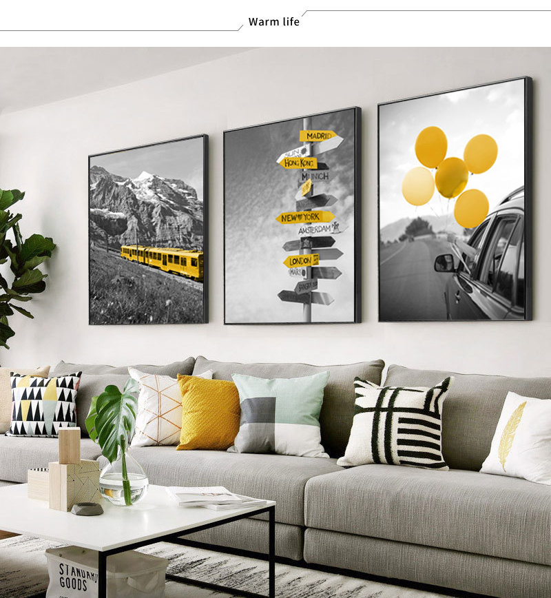 HTB1k4.DXf1H3KVjSZFHq6zKppXad Black and White Photograph Landscape Picture Home Decor Nordic Canvas Painting Wall Art Yellow Scenery Art Print for Living Room
